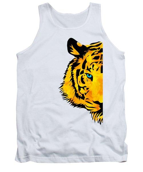 Half Tiger Digital Painting Tank Top