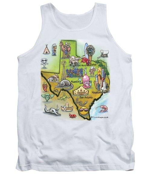 Tank Top featuring the digital art Texas Cartoon Map by Kevin Middleton
