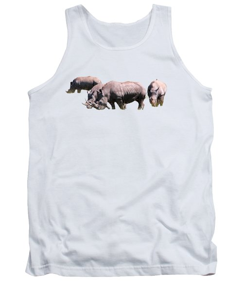 Tank Top featuring the photograph Group Of White Rhino by Aidan Moran