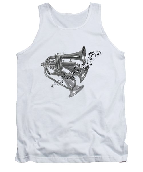 Trumpet Fanfare Black And White Tank Top by Gill Billington