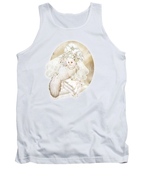 Tank Top featuring the mixed media Cat In Fancy Bridal Hat by Carol Cavalaris