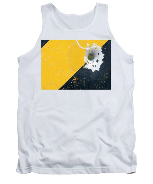 Bullet Hole On The Yellow Black Line Tank Top by Bill Kesler