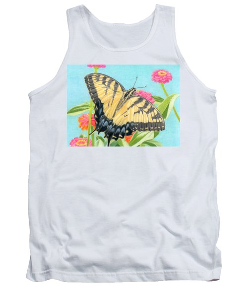 Swallowtail Butterfly And Zinnias Tank Top