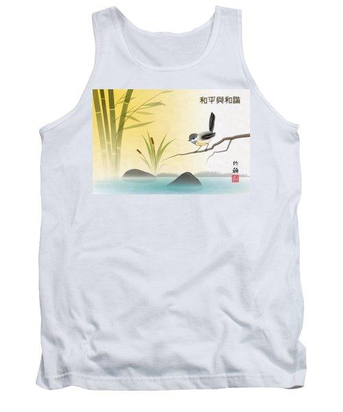 Asian Art Chickadee Landscape Tank Top