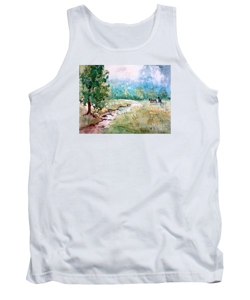 Tank Top featuring the painting Aska Farm Creek by Gretchen Allen