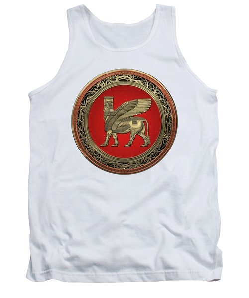 Assyrian Winged Bull - Gold Lamassu Over White Leather Tank Top
