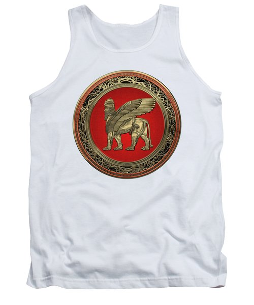 Assyrian Winged Lion - Gold Lamassu Over White Leather Tank Top