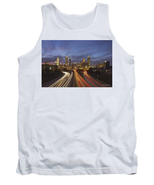 Atlanta Night Lights Sunset Cityscape Skyline Art Tank Top