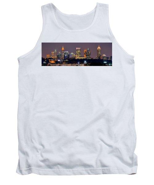 Atlanta Skyline At Night Downtown Midtown Color Panorama Tank Top