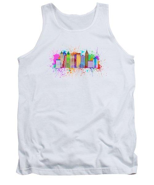 Atlanta Skyline Paint Splatter Illustration Tank Top