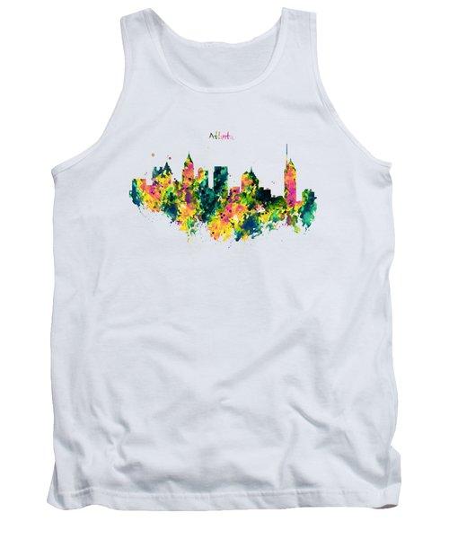 Atlanta Watercolor Skyline  Tank Top by Marian Voicu