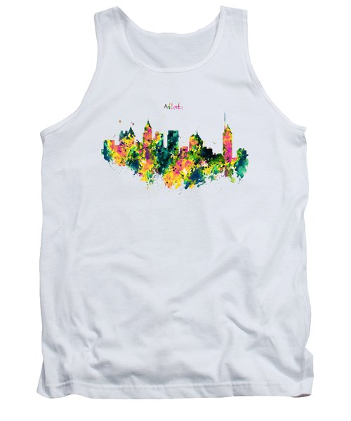 Atlanta Watercolor Skyline  Tank Top by Marian Voicu