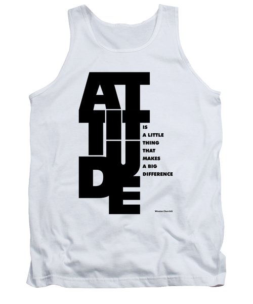 Attitude - Winston Churchill Inspirational Typographic Quote Art Poster Tank Top by Lab No 4 - The Quotography Department