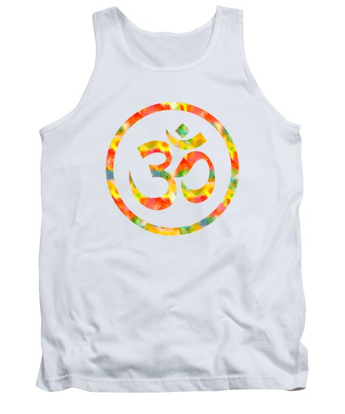 Aum Symbol Abstract Digital Painting Tank Top by Georgeta Blanaru