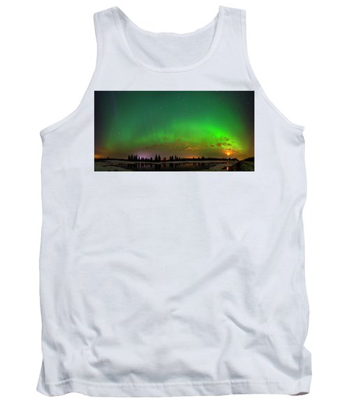 Aurora Over Pond Panorama Tank Top