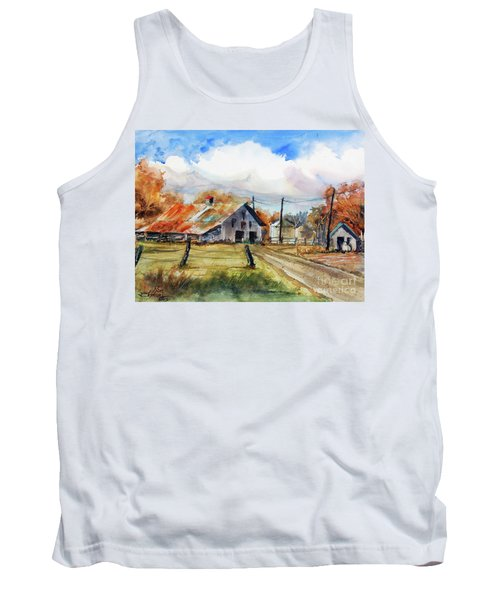 Tank Top featuring the painting Autumn At The Farm by Ron Stephens