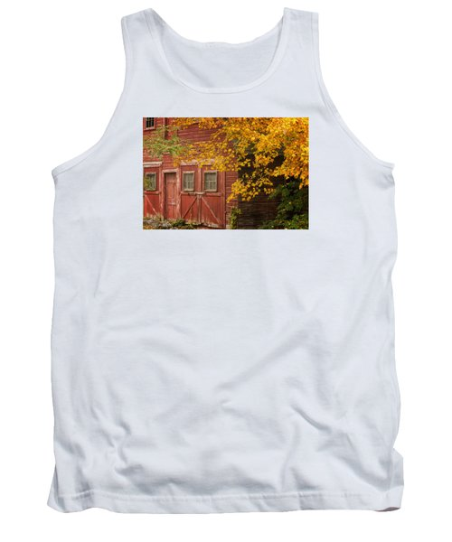 Tank Top featuring the photograph Autumn Barn by Tom Singleton