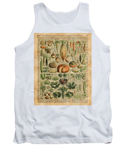 Autumn Fall Vegetables Kiche Harvest Thanksgiving Dictionary Art Vintage Cottage Chic Tank Top