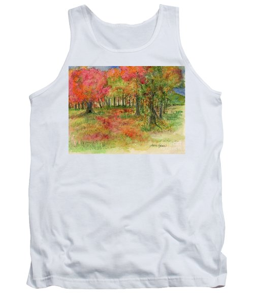 Autumn Forest Watercolor Illustration Tank Top