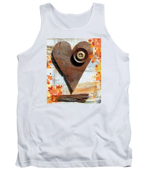 Autumn Heart Tank Top by France Laliberte