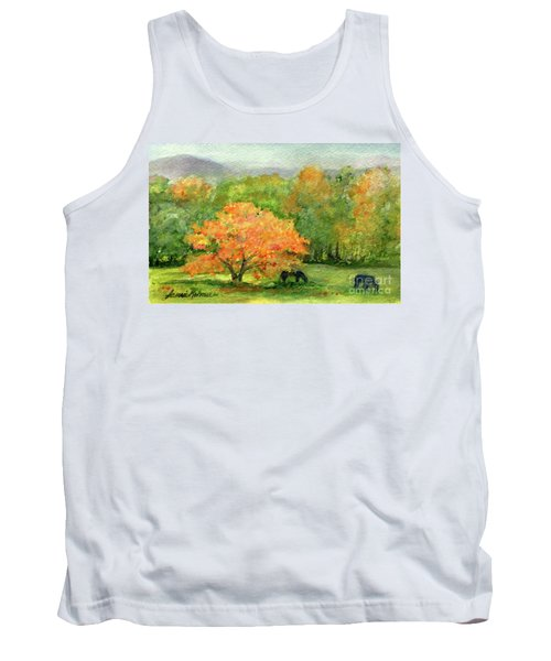 Autumn Maple With Horses Grazing Tank Top