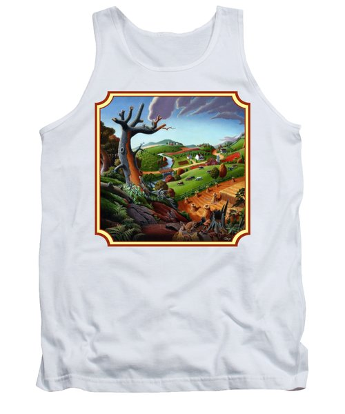 Autumn Wheat Harvest Country Farm Life Landscape - Square Format Tank Top