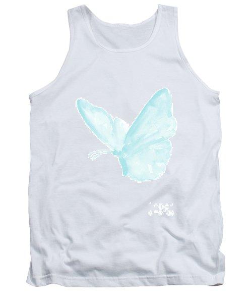 Butterfly, Baby Blue Butterfly Watercolor Painting, Pastel Kids Room Decor, Nursery Boy Print Tank Top