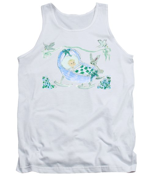 Baby Boy With Bunny And Birds Tank Top