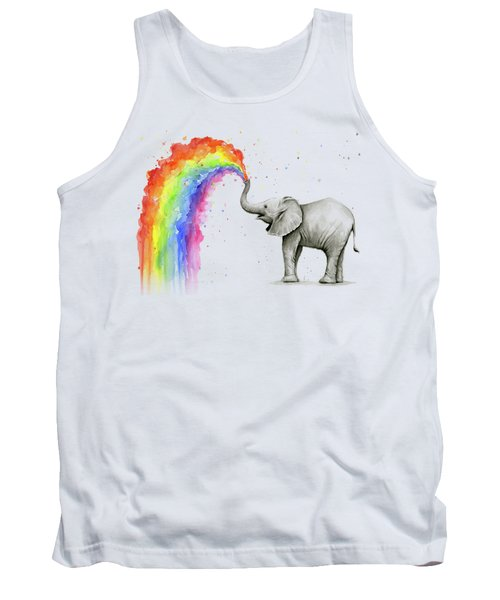 Baby Elephant Spraying Rainbow Tank Top