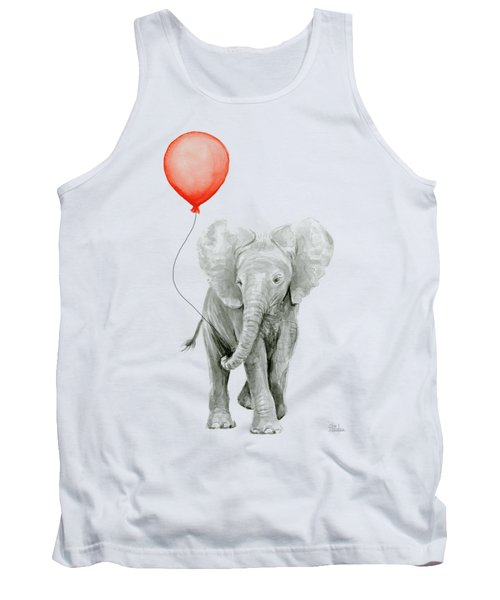 Baby Elephant Watercolor Red Balloon Tank Top