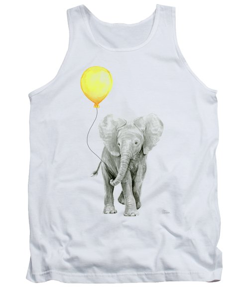 Baby Elephant Watercolor With Yellow Balloon Tank Top