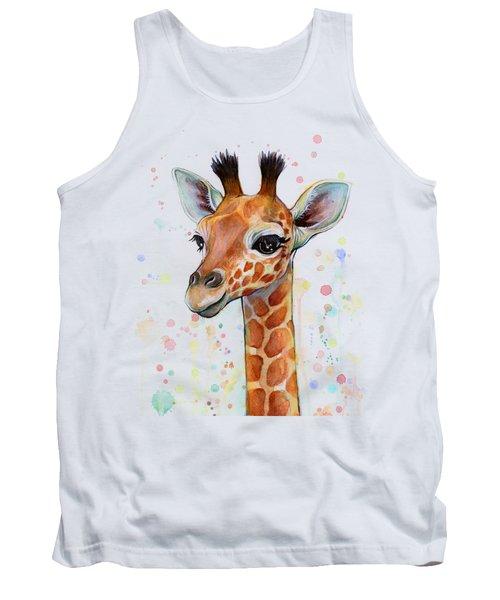 Baby Giraffe Watercolor  Tank Top