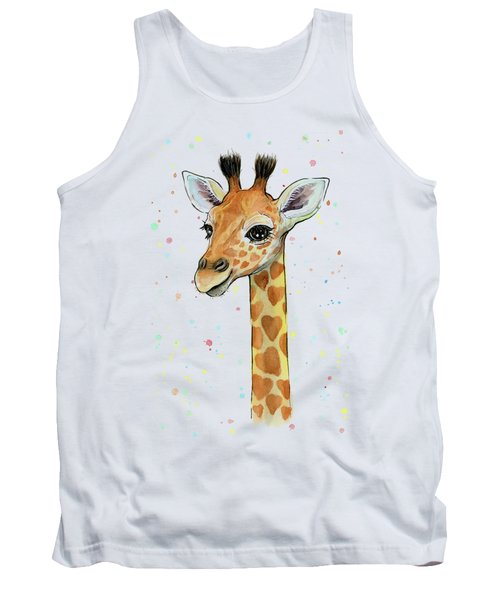 Baby Giraffe Watercolor With Heart Shaped Spots Tank Top by Olga Shvartsur