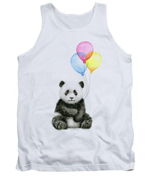 Baby Panda Watercolor With Balloons Tank Top