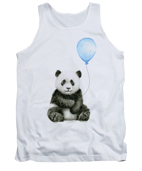 Baby Panda With Blue Balloon Watercolor Tank Top
