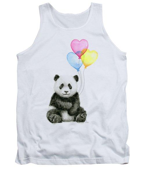Baby Panda With Heart-shaped Balloons Tank Top by Olga Shvartsur