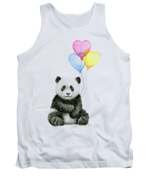 Baby Panda With Heart-shaped Balloons Tank Top