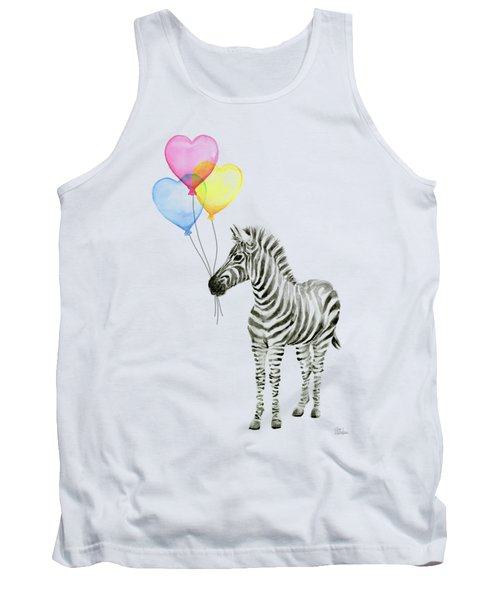 Baby Zebra Watercolor Animal With Balloons Tank Top