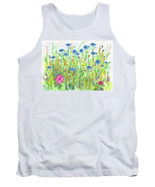 Tank Top featuring the painting Bachelor Button Meadow by Cathie Richardson