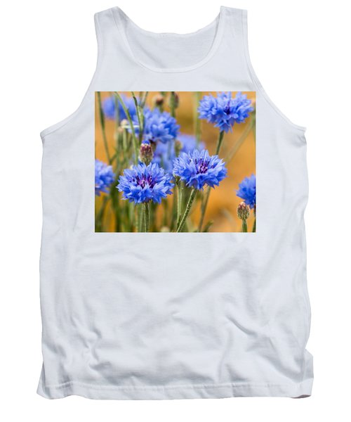 Bachelor Buttons In Blue Tank Top by E Faithe Lester