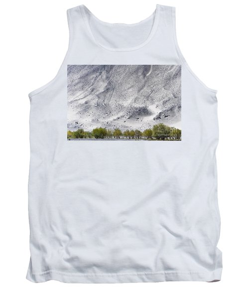 Tank Top featuring the photograph Backdrop Of Sand, Chumathang, 2006 by Hitendra SINKAR