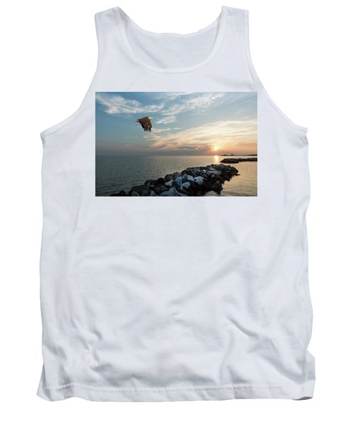 Bald Eagle Flying Over A Jetty At Sunset Tank Top