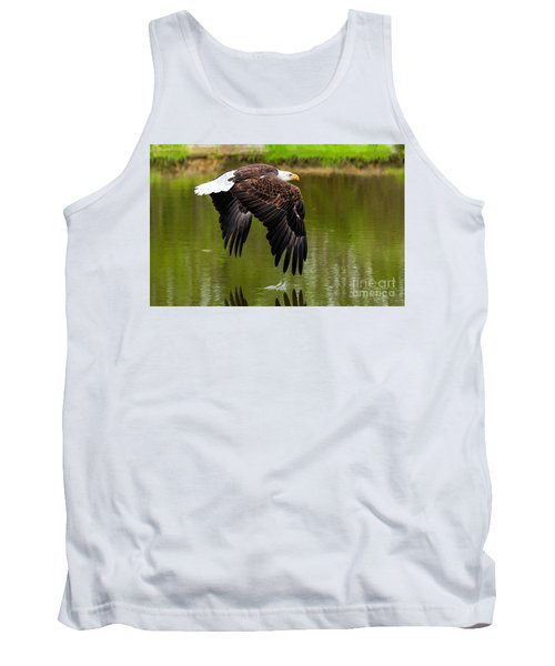 Bald Eagle Over A Pond Tank Top