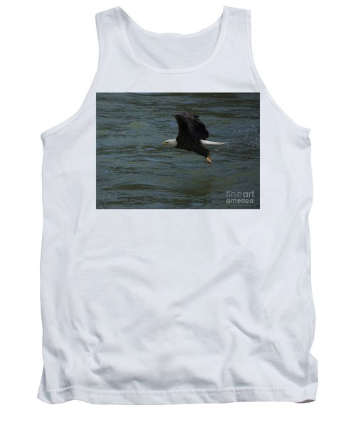 Bald Eagle With Fish In Claws Flying Over The French Broad River, Tennessee Tank Top by Nature Scapes Fine Art