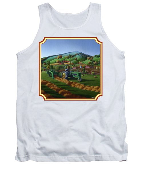 Baling Hay Field - John Deere Tractor - Farm Country Landscape Square Format Tank Top