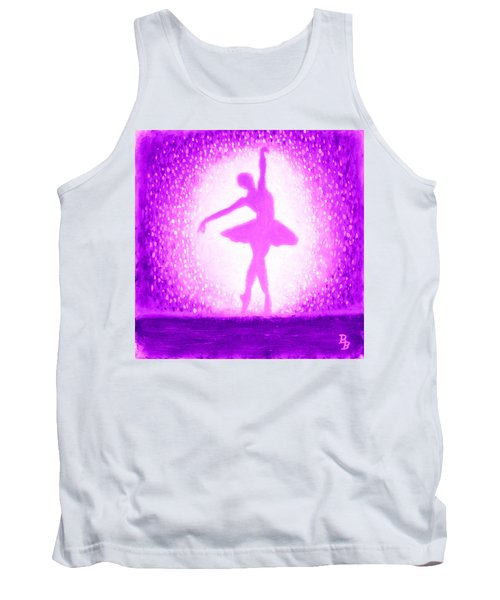Tank Top featuring the painting Ballerina Purple And Pink by Bob Baker