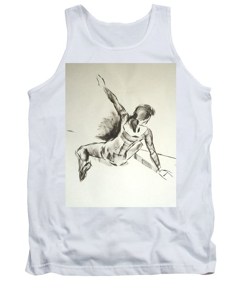 Ballet Dancer Sitting On Floor With Weight On Her Right Arm Tank Top