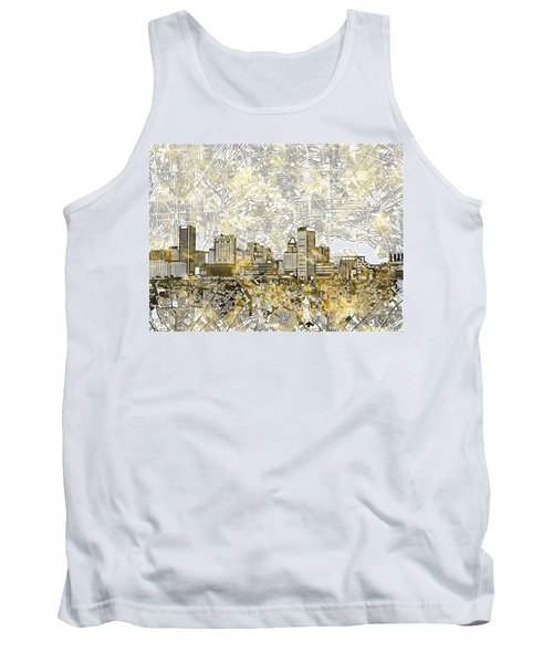 Tank Top featuring the painting Baltimore Skyline Watercolor 8 by Bekim Art