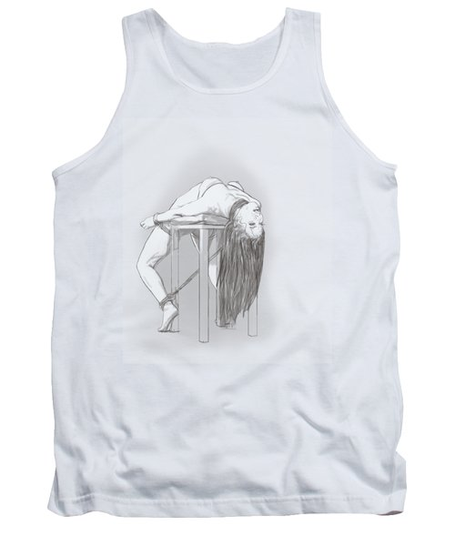 Tank Top featuring the mixed media Bar Chair Bw by TortureLord Art