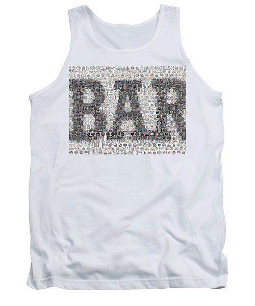 Tank Top featuring the mixed media Bar Sign Beer Label Mosaic by Paul Van Scott